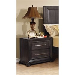 Furniture of America Prather 2 Drawer Nightstand in Dark Gray