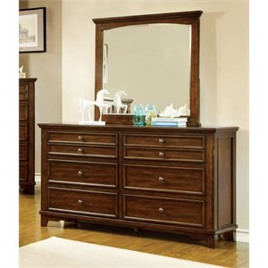 Furniture of America Alred 6 Drawer Dresser and Mirror Set in Cherry