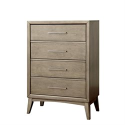 Furniture of America Carmen Modern 4 Drawer Chest in Gray