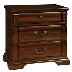 Furniture of America Oulette 3 Drawer Nightstand in Cherry