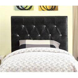 Furniture of America Chasidy Twin Faux Leather Headboard in Black