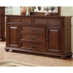Furniture of America Eason 5 Drawer Dresser in Antique Dark Oak