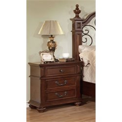 Furniture of America Eason 3 Drawer Nightstand in Antique Dark Oak