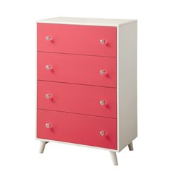 Furniture of America Jennings 4 Drawer Chest in Pink and White