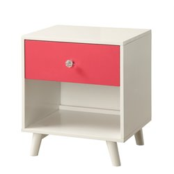 Furniture of America Jennings Modern Nightstand in Pink and White