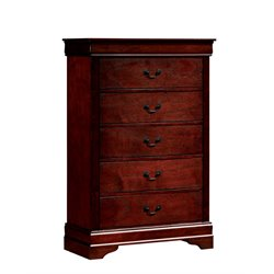 Furniture of America Cedric Modern 5 Drawer Chest in Cherry