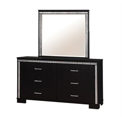 Furniture of America Clarice 6 Drawer Dresser and Mirror Set in Black