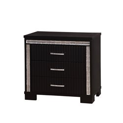 Furniture of America Clarice Modern 3 Drawer Nightstand in Black