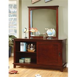 Furniture of America Hailey 3 Drawer Dresser and Mirror Set in Cherry
