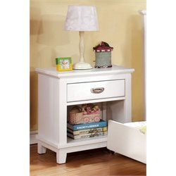 Furniture of America Hailey 1 Drawer Nightstand in White
