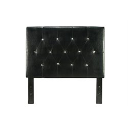Furniture of America Kylen Twin Tufted Leather Headboard in Black