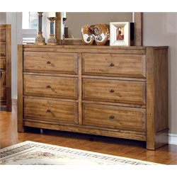 Furniture of America Leanna 6 Drawer Dresser in Rustic Oak
