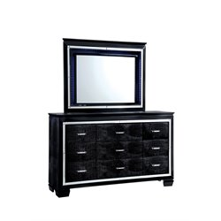 Rachel 9 Drawer LED Dresser and Mirror Set