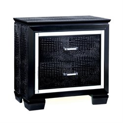 Furniture of America Rachel 2 Drawer Nightstand in Black