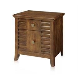 Furniture of America Kyrin 2 Drawer Nightstand in Walnut