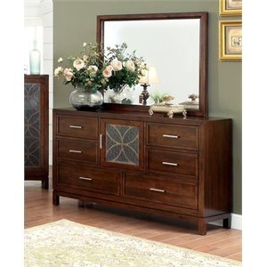 Furniture of America Kyleigh 6 Drawer Dresser and Mirror Set in Cherry