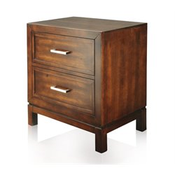 Furniture of America Kyleigh 2 Drawer Nightstand in Brown Cherry