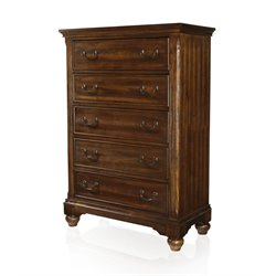 Furniture of America Makayla Modern 5 Drawer Chest in Antique Dark Oak