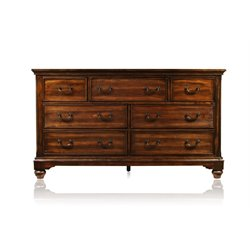 Furniture of America Makayla 7 Drawer Dresser in Antique Dark Oak