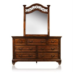 Furniture of America Makayla 7 Drawer Dresser and Mirror Set in Oak
