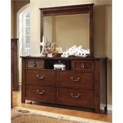 Furniture of America Mariah 6 Drawer Dresser and Mirror Set in Cherry
