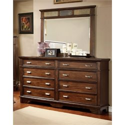 Furniture of America Marley 8 Drawer Dresser and Mirror Set in Cherry