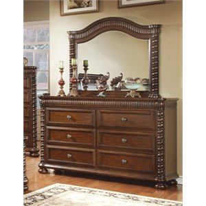 Furniture of America Mallory 6 Drawer Dresser and Mirror Set in Cherry