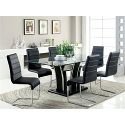 Furniture of America Valery 7 Piece Glass Top Dining Set in Black