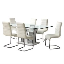 Furniture of America Valery 7 Piece Glass Top Dining Set in White