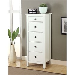 Furniture of America Weller 5 Drawer Accent Chest in White