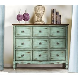 Furniture of America Petrie 3 Drawer Accent Chest in Antique Green