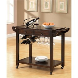 Furniture of America Reeve Transitional Bar Cart in Dark Walnut