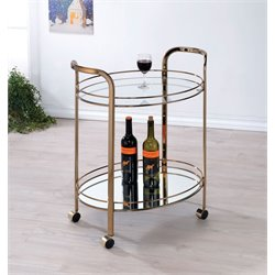 Furniture of America Daniell Modern Bar Cart in Champagne