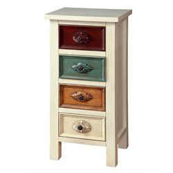 Furniture of America Kelly 4 Drawer Accent Chest in Antique White