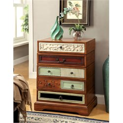 Furniture of America Kathleen Swivel Accent Chest in Brown