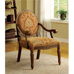 Furniture of America Lucas Fabric Accent Chair in Antique Oak