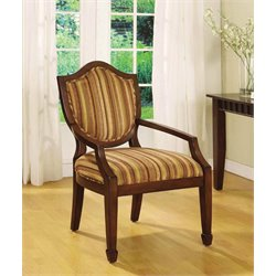 Furniture of America Carly Fabric Medieval Accent Chair in Dark Walnut