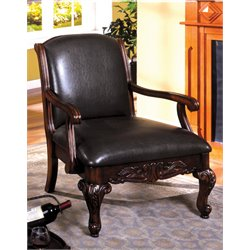Furniture of America Giles Leather Accent Chair in Dark Cherry