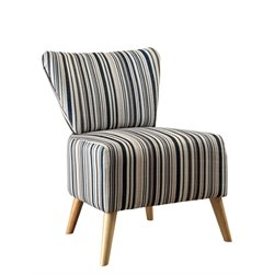 Furniture of America Kieron Fabric Striped Accent Chair in Blue