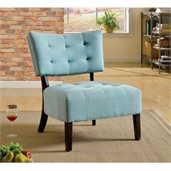 Furniture of America Ronnie Fabric Tufted Accent Chair in Blue