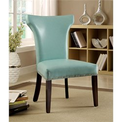 Furniture of America Quin Leather Dining Chair in Turquoise (Set of 2)