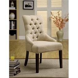 Furniture of America Alise Tufted Accent Chair in Ivory (Set of 2)