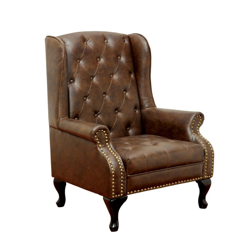 Awesome Furniture Of America Ardell Faux Leather Tufted Accent Chair In Rustic Brown Gmtry Best Dining Table And Chair Ideas Images Gmtryco
