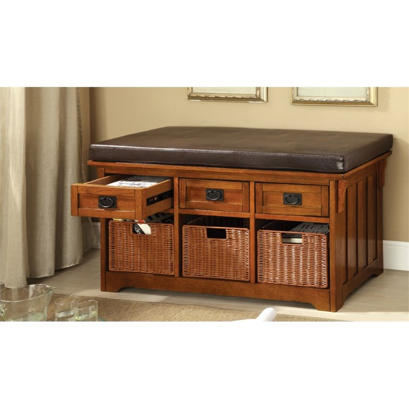Furniture of America Clemens Storage Bench with Baskets in