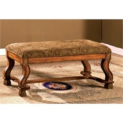 Furniture of America Rabin Paisley Fabric Bench in Antique Oak