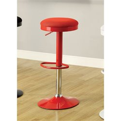 Furniture of America Fernster Adjustable Bar Stool in Red (Set of 2)