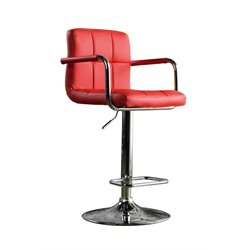 Furniture of America Reiley Leather Adjustable Bar Stool in Red