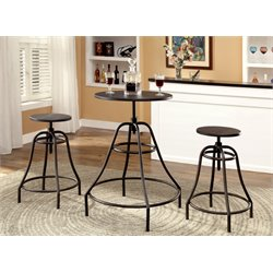 Furniture of America Glynda 3 Piece Adjustable Pub Set in Dark Brown