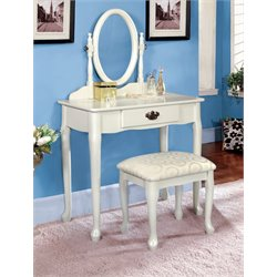 Furniture of America Fiona Queen Vanity Set with Stool in White