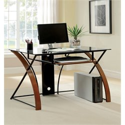 Furniture of America Kyran Modern Computer Desk in Oak and Black